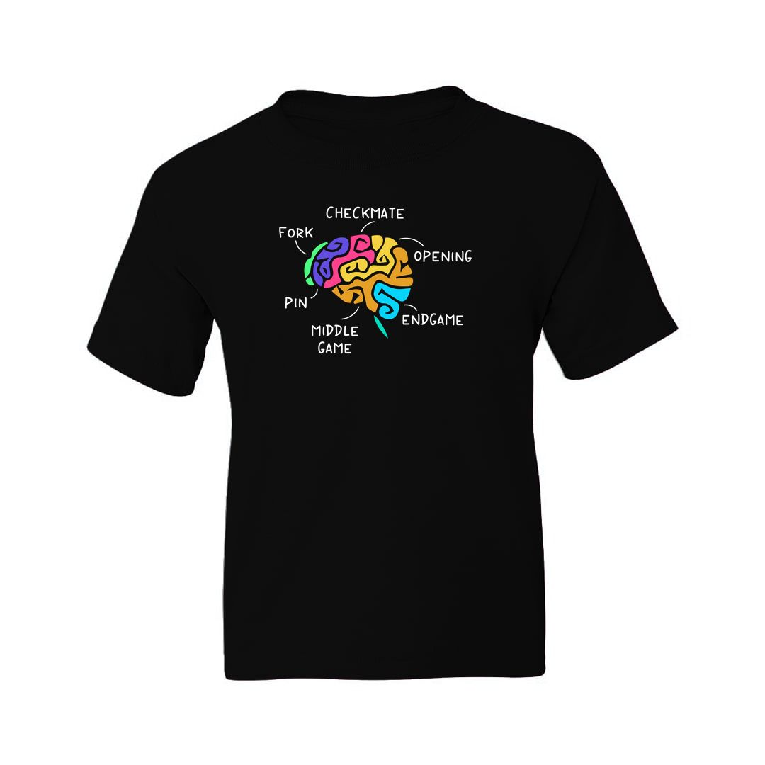 66c7acaf My Brain On Chess For Chess Players And Enthusiasts Kids T Shirt Black Front.jpg