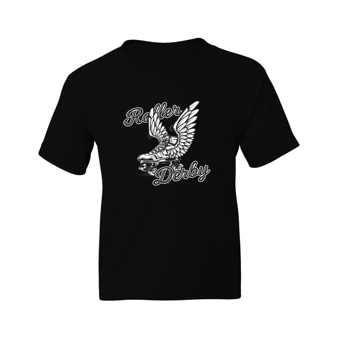 686c9fde Roller Derby Skating Rollers With Wings Kids T Shirt Black Front.jpg