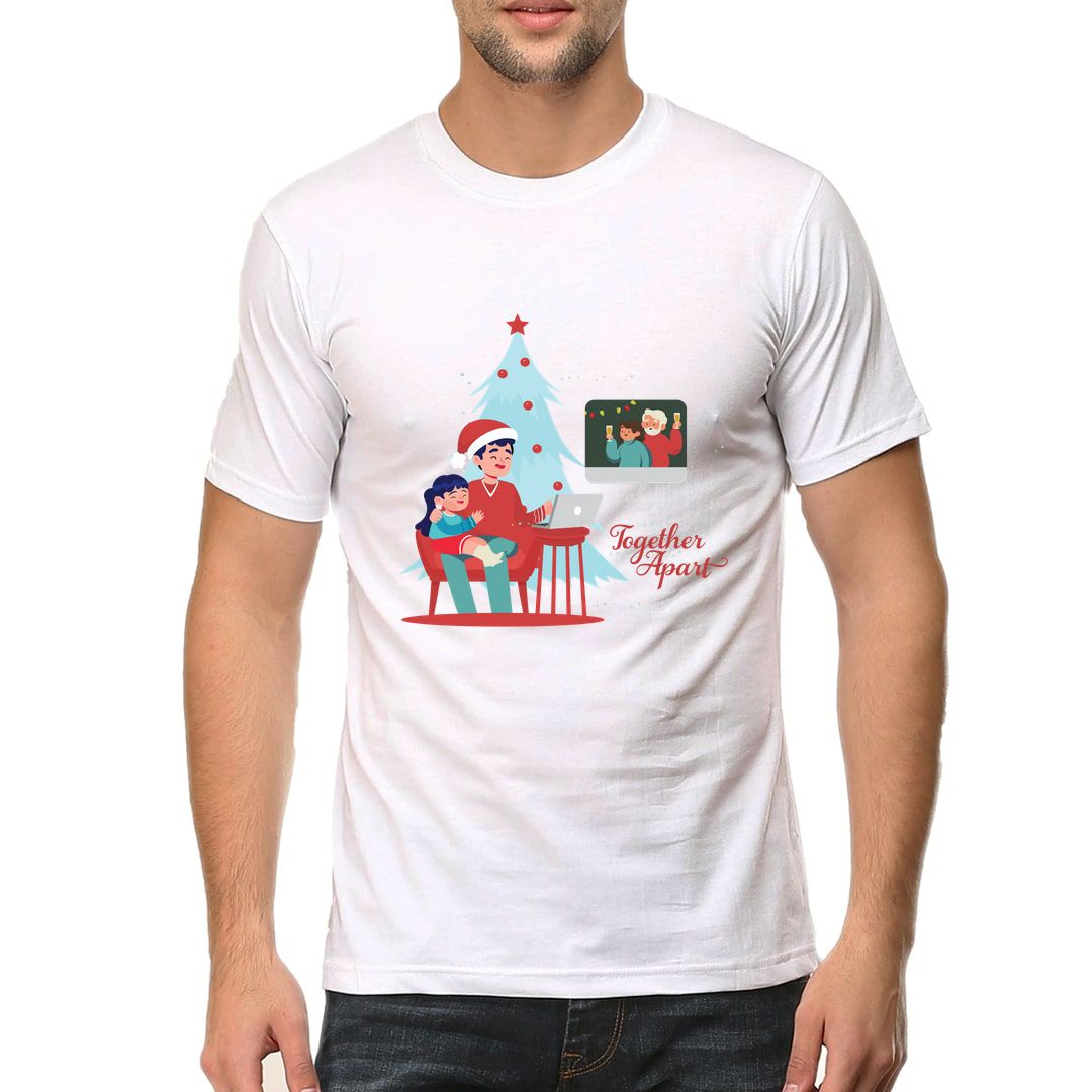 69327ab6 Christmas In Lockdown Be Together When You Are Apart Men T Shirt White Front.jpg
