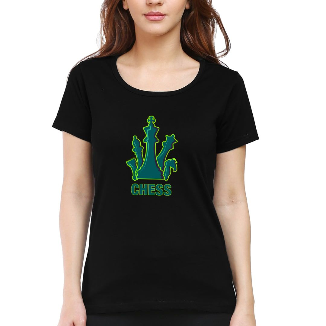 7450131c Bright And Colourful Design For Chess Players Women T Shirt Black Front.jpg