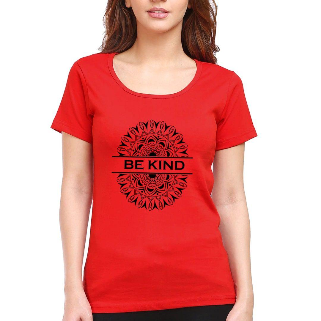 74e06c97 Be Kind Mandala Art Women T Shirt Red Front.jpg