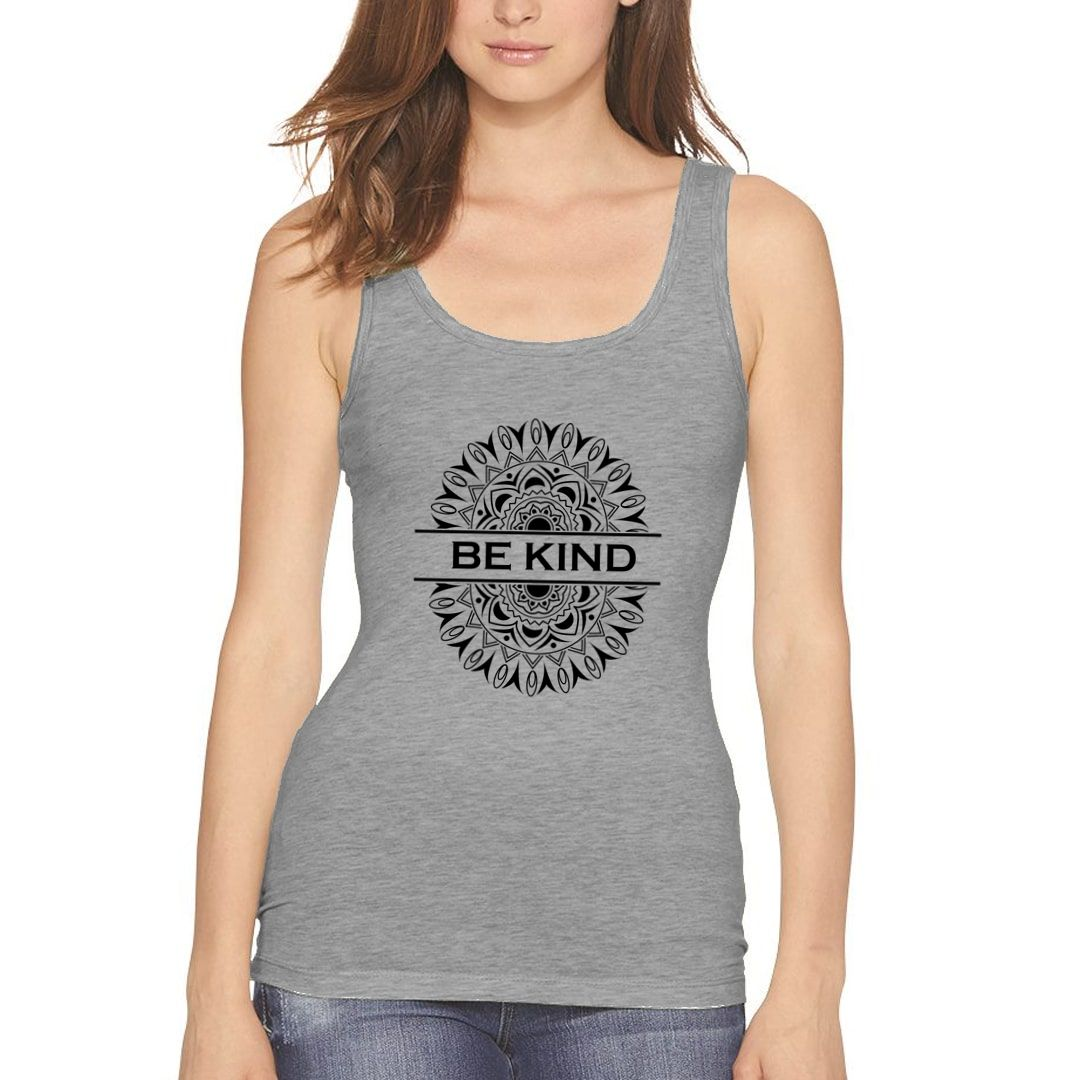 74e06c97 Be Kind Mandala Art Women Tank Top Grey Front.jpg