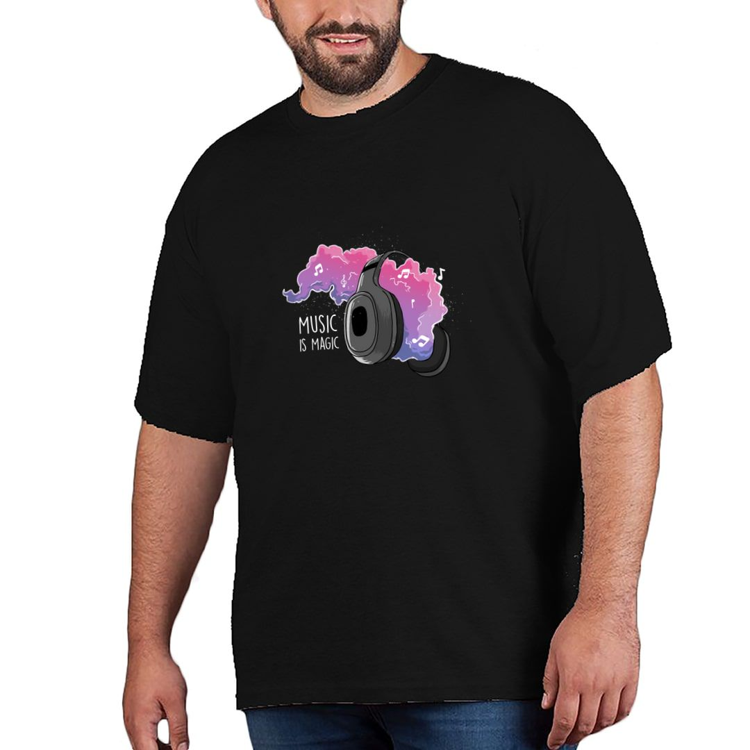 76b6aa68 Music Is Magic Vibrant Design For Music Gaana Isai Lovers Plus Size T Shirt Black Front.jpg