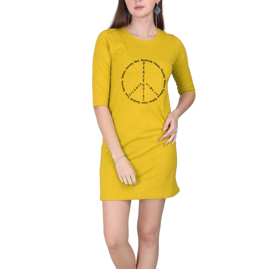8087c6cb Peace And Stillness Women T Shirt Dress Yellow Front.jpg