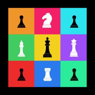 80dddf1f chess pieces colourful grid design for chess playersblack