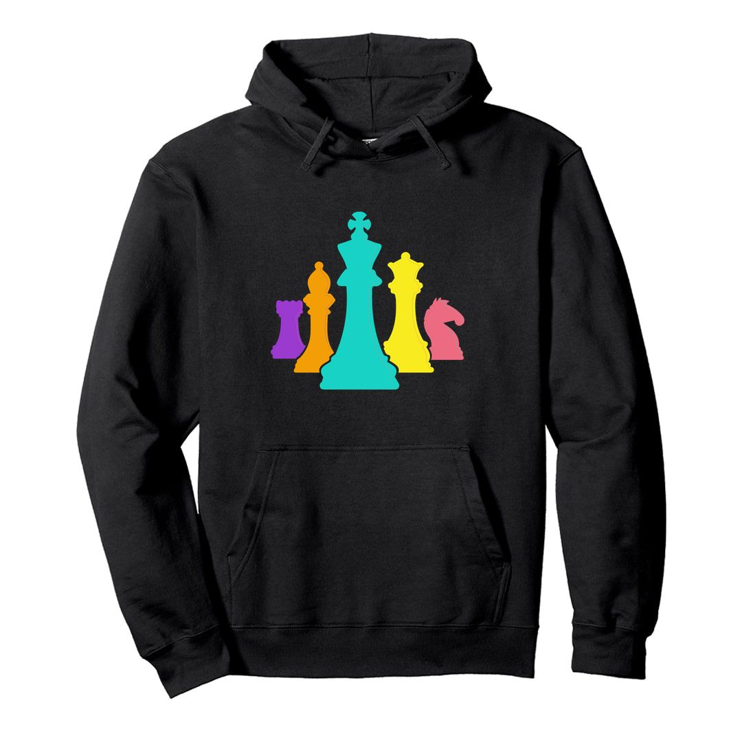 80ded6e2 Chess Pieces Colourful Design For Players And Enthusiasts Unisex Hooded Sweatshirt Hoodie Black Front.jpg