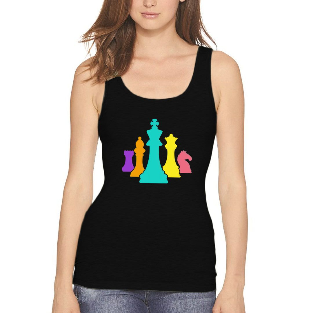 8aa47dd6 Chess Pieces Colourful Design For Players And Enthusiasts Women Tank Top Black Front.jpg