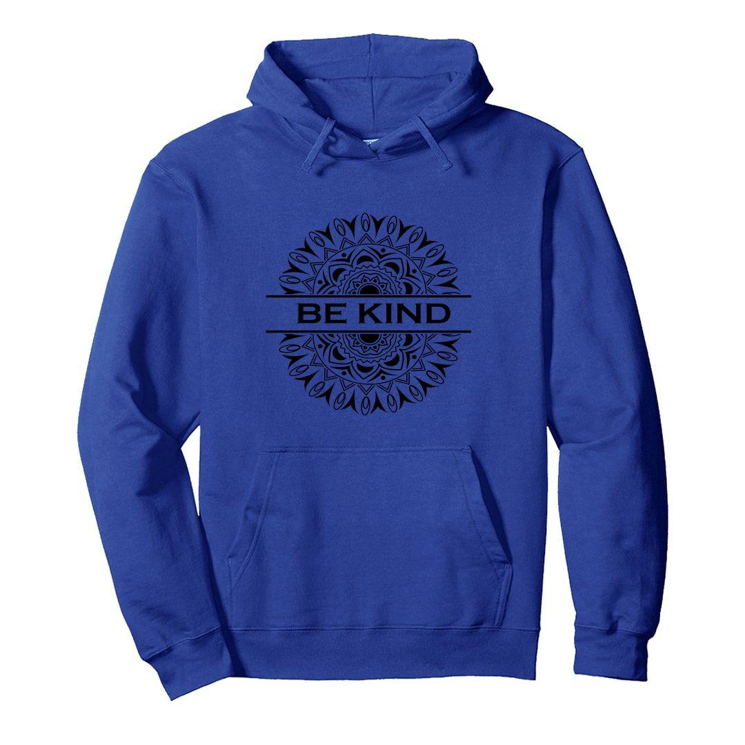 90645367 Be Kind Mandala Art Unisex Hooded Sweatshirt Hoodie Royal Blue Front.jpg