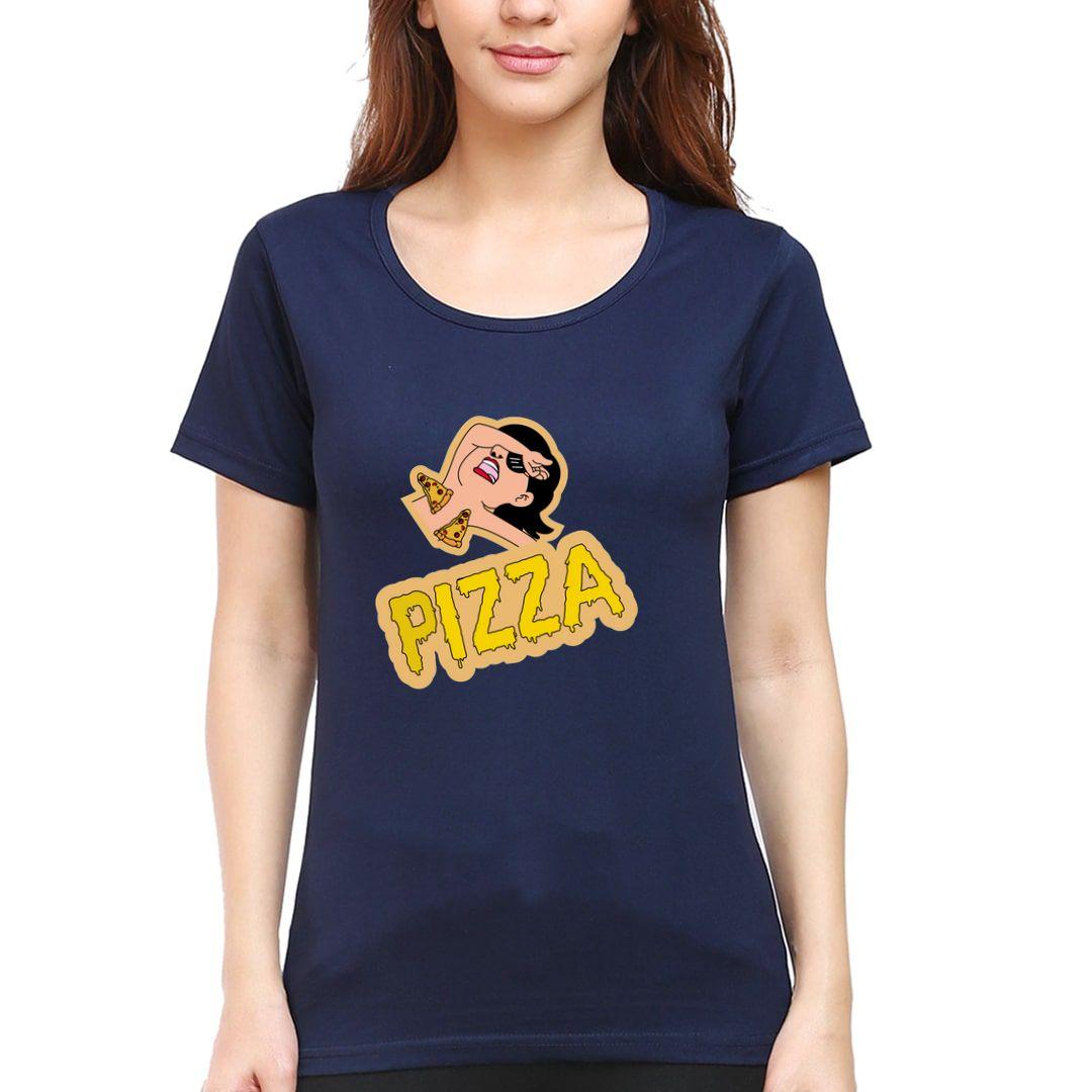9368871f Pizza Time Women T Shirt Navy Front.jpg