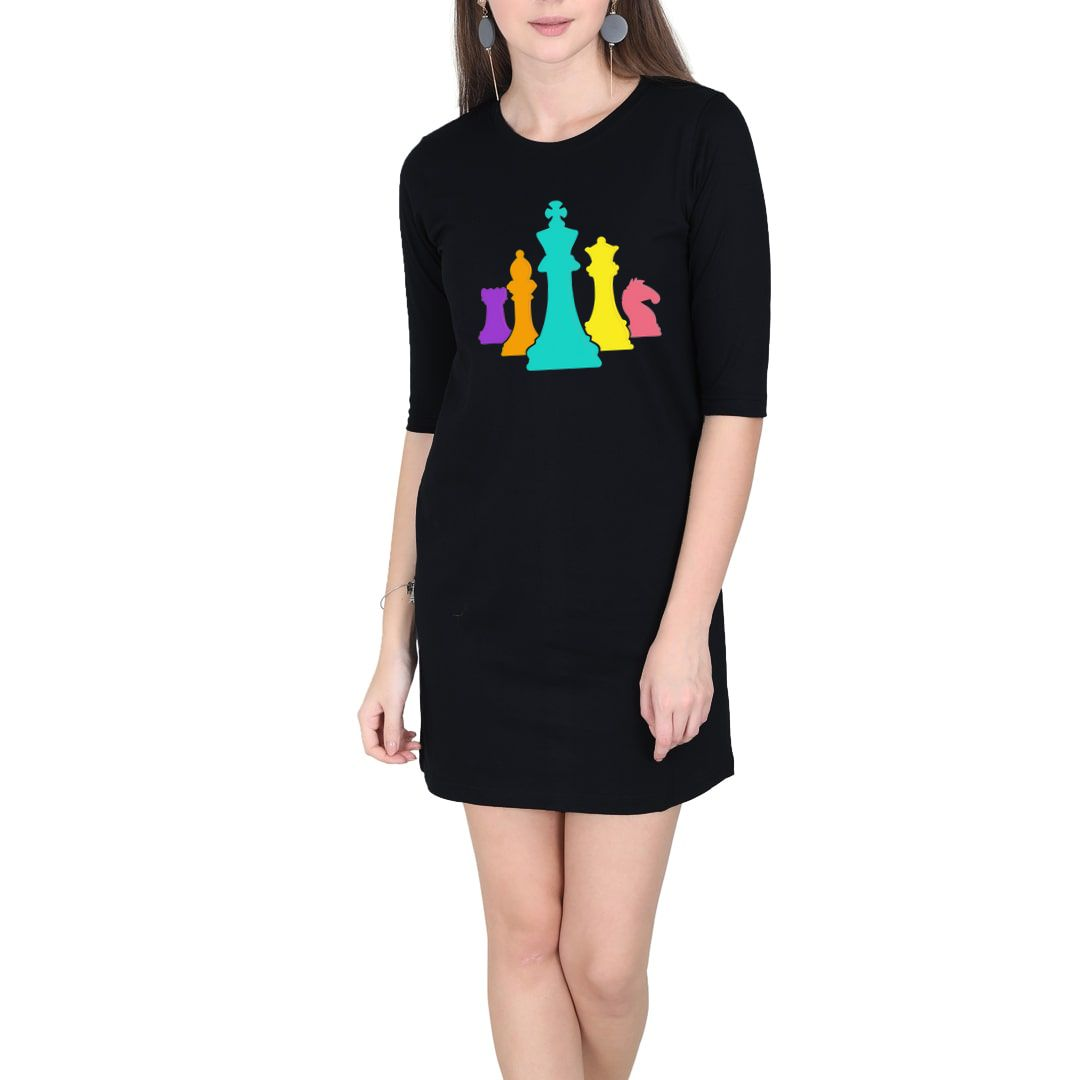 96752c7a Chess Pieces Colourful Design For Players And Enthusiasts Women T Shirt Dress Black Front.jpg