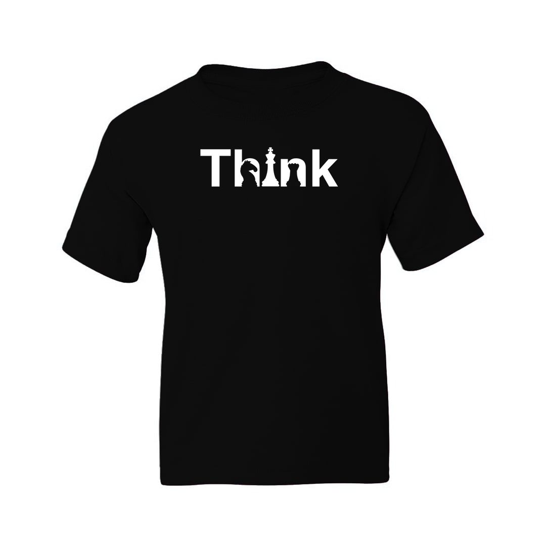 9a6cdbe3 Think Creative Design With Knight And Rook For Chess Players Kids T Shirt Black Front.jpg