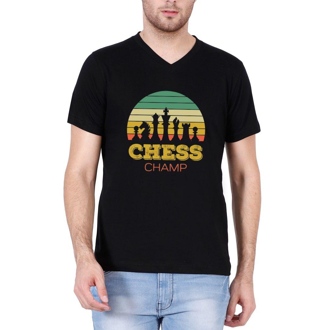 9f53f2f9 Chess Champ Vintage Retro Style Design For Chess Players Men V Neck T Shirt Black Front.jpg
