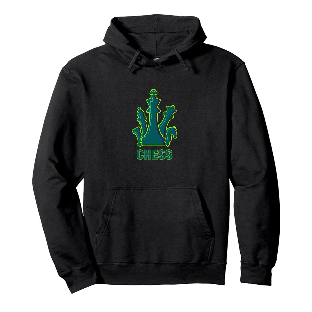 A3fb8895 Bright And Colourful Design For Chess Players Unisex Hooded Sweatshirt Hoodie Black Front.jpg