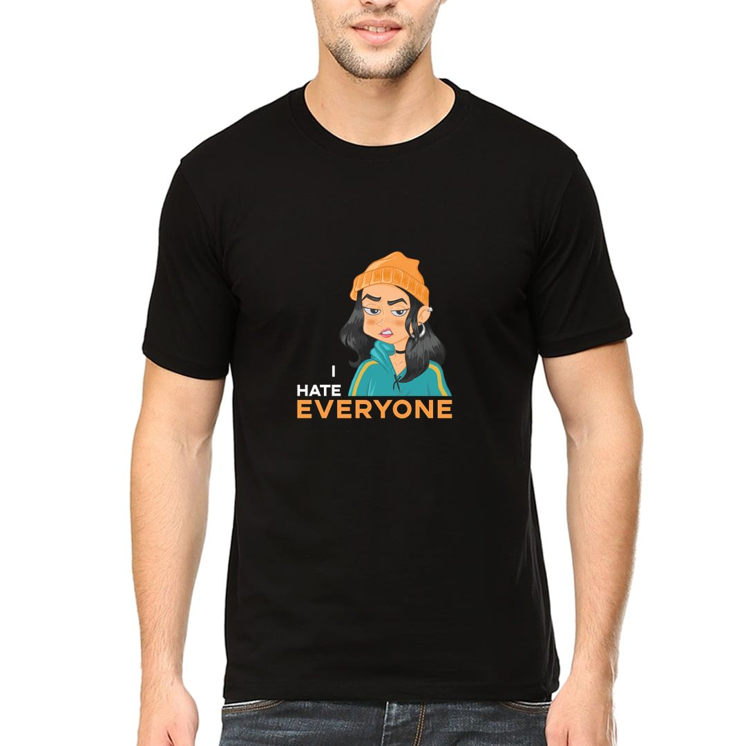 A544480a I Hate Everyone Attitude Design With A Grumpy Girl Men T Shirt Black Front.jpg