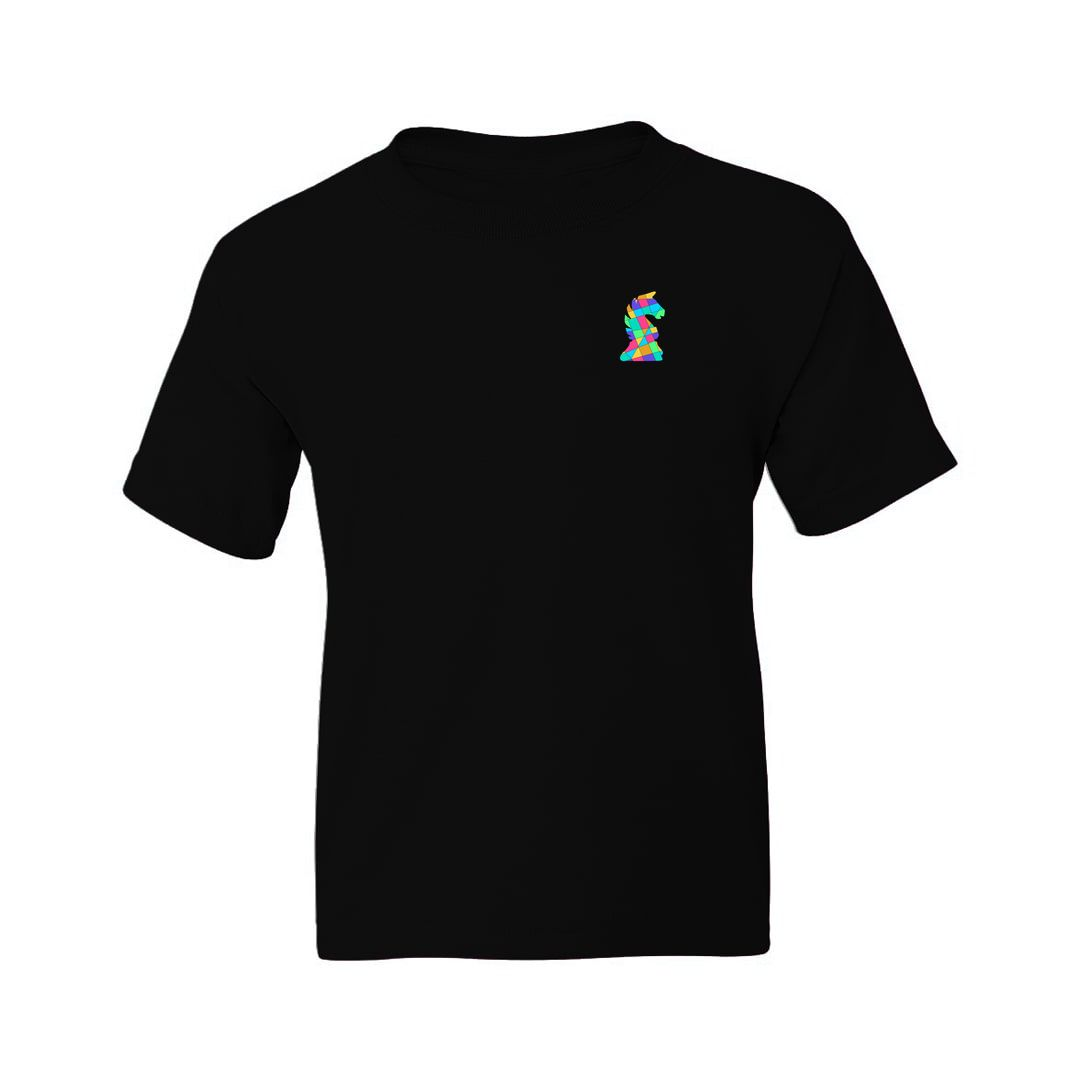 Ac9de7a4 Chess Creative And Colourful Knight Logo For Chess Players Kids T Shirt Black Front.jpg