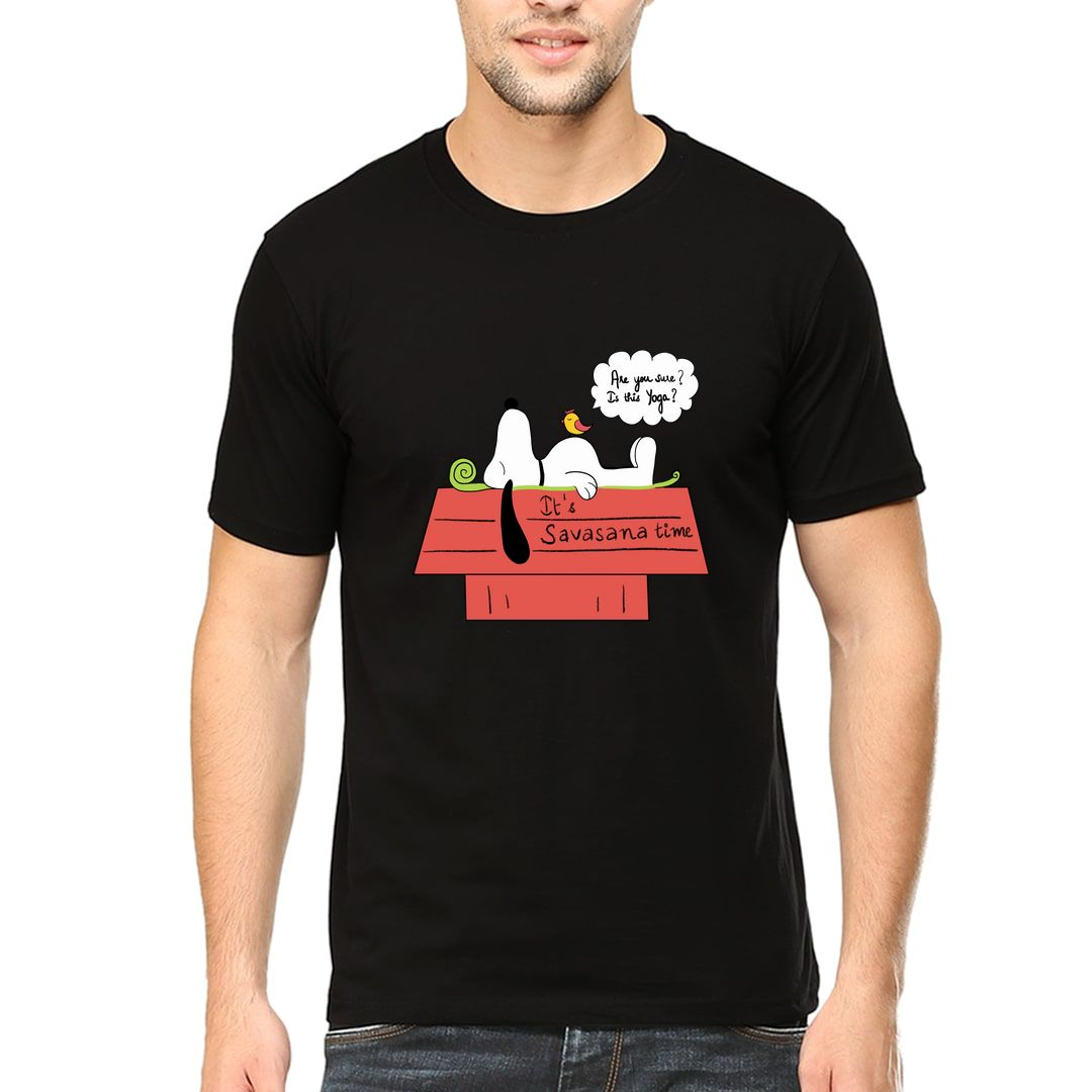 B7619c6f Its Savasana Time Slogan For All Yoga Lovers Whose Favorite Asana Is Savasana Men T Shirt Black Front.jpg