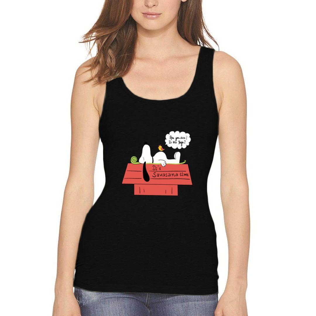 B7700dc6 Its Savasana Time Slogan For All Yoga Lovers Whose Favorite Asana Is Savasana Women Tank Top Black Front.jpg
