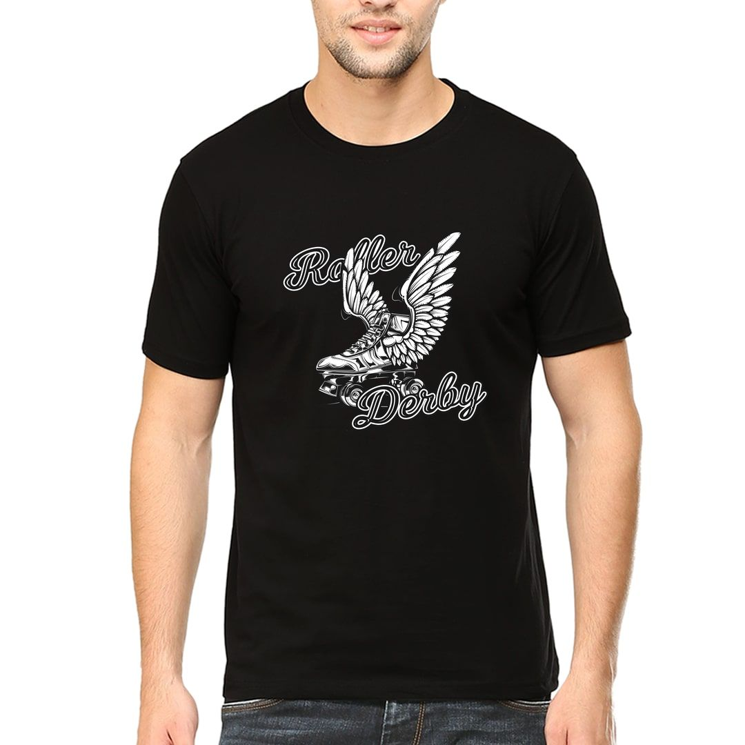 B871c8cb Roller Derby Skating Rollers With Wings Men T Shirt Black Front.jpg