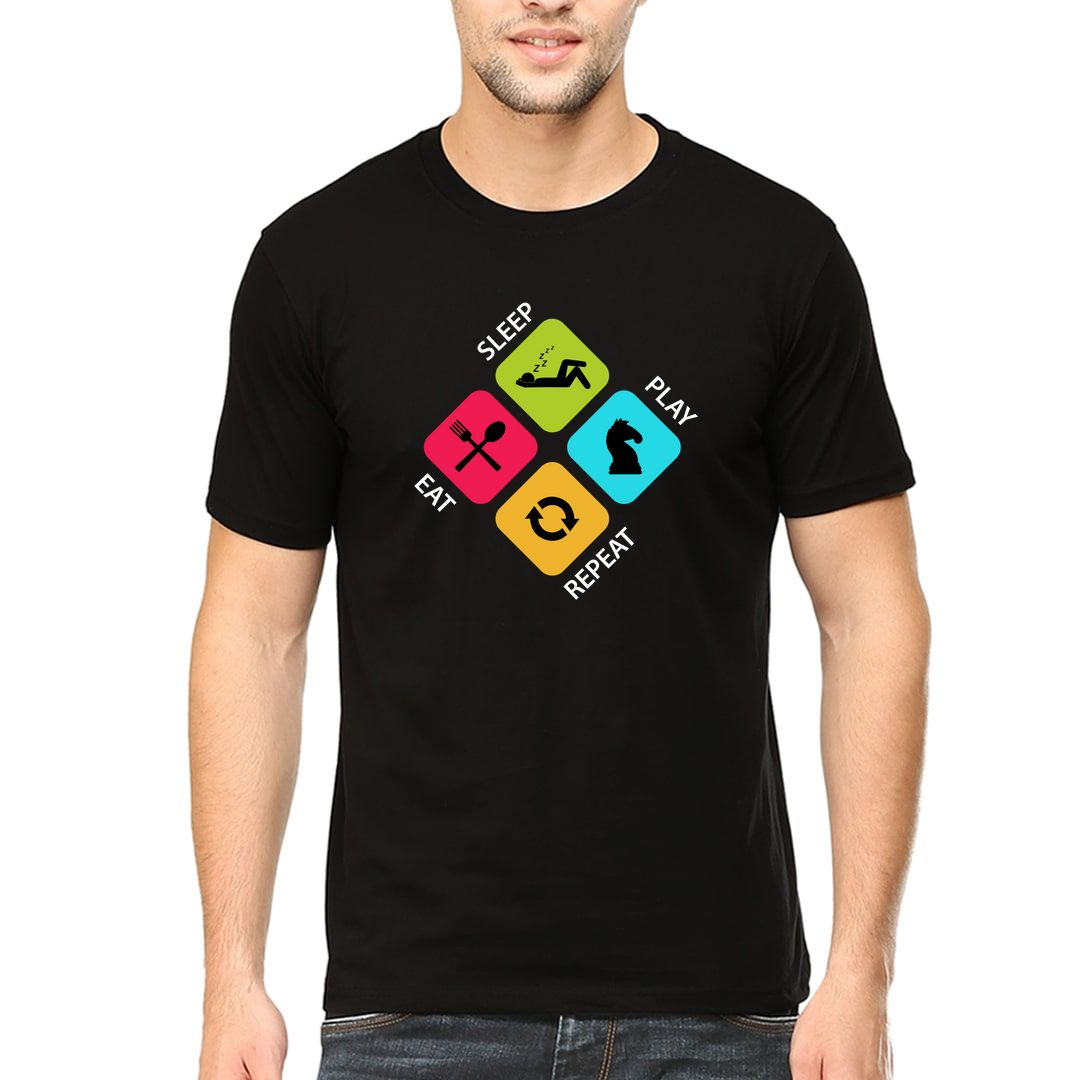 B884e376 Eat Sleep Play Chess Repeat Colourful Design For Chess Players Men T Shirt Black Front.jpg