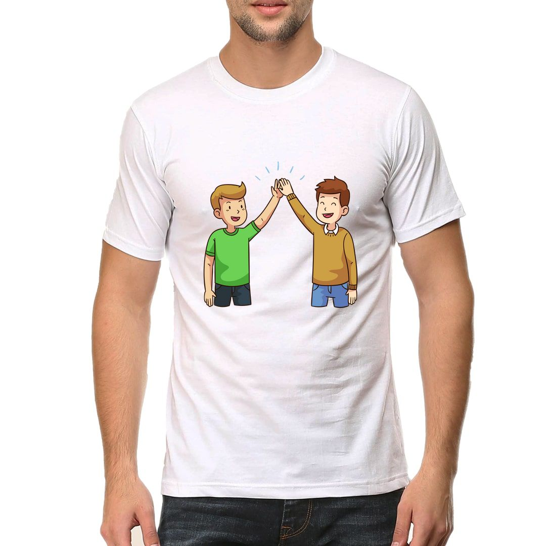 Bc144bb4 Two Friends Giving High Five Men T Shirt White Front.jpg