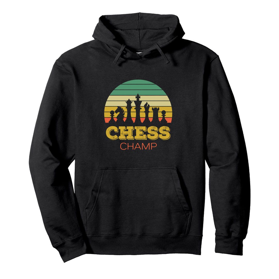 Cd46c512 Chess Champ Vintage Retro Style Design For Chess Players Unisex Hooded Sweatshirt Hoodie Black Front.jpg