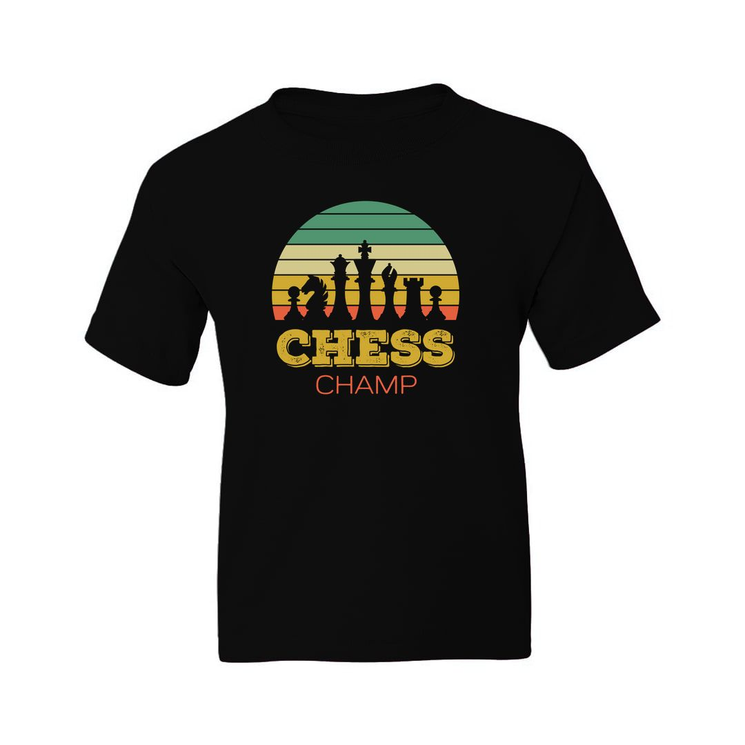 D3f202f2 Chess Champ Vintage Retro Style Design For Chess Players Kids T Shirt Black Front.jpg