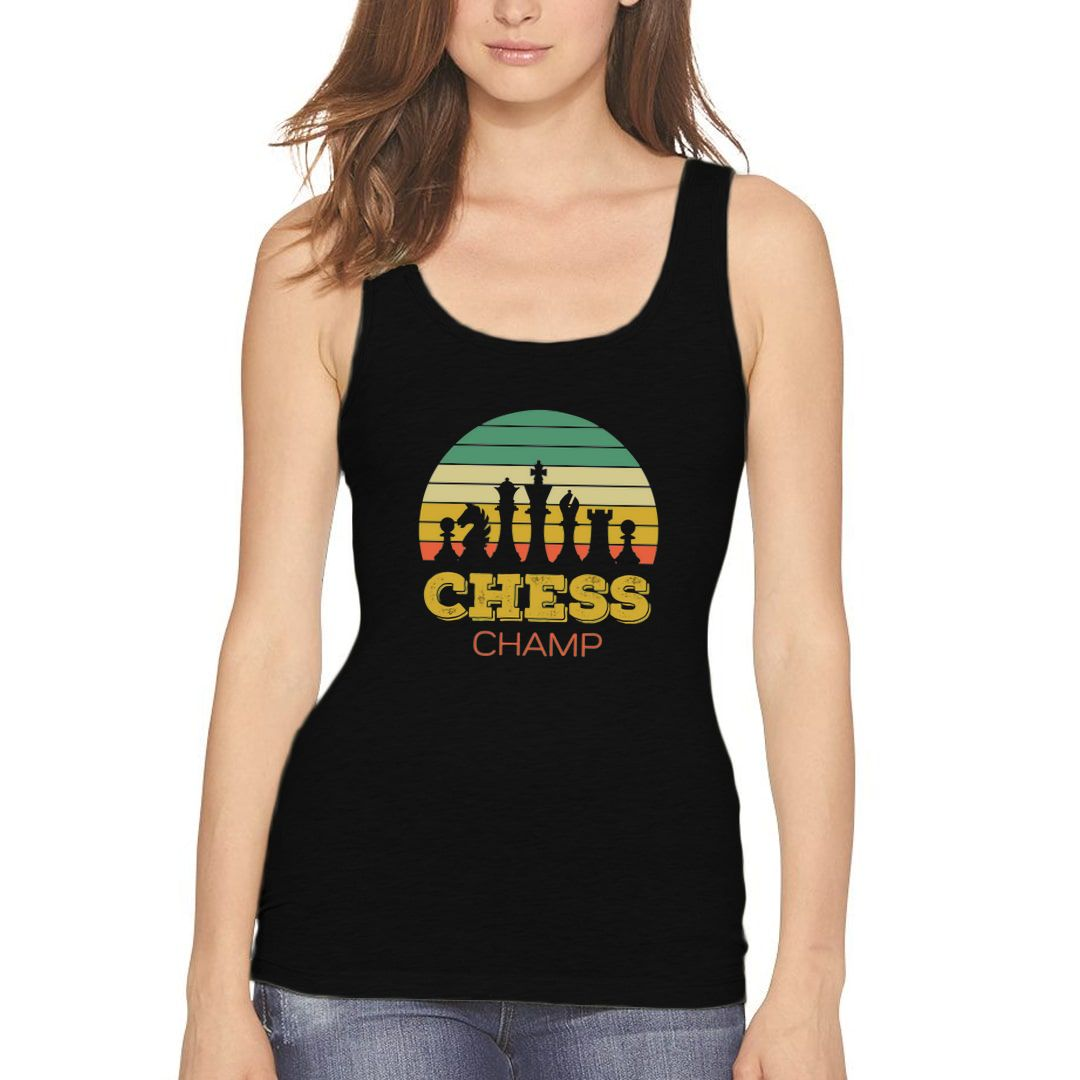 D3f202f2 Chess Champ Vintage Retro Style Design For Chess Players Women Tank Top Black Front.jpg