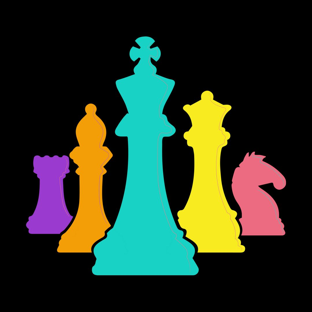 D46140dd Chess Pieces Colourful Design For Players And Enthusiastsblack