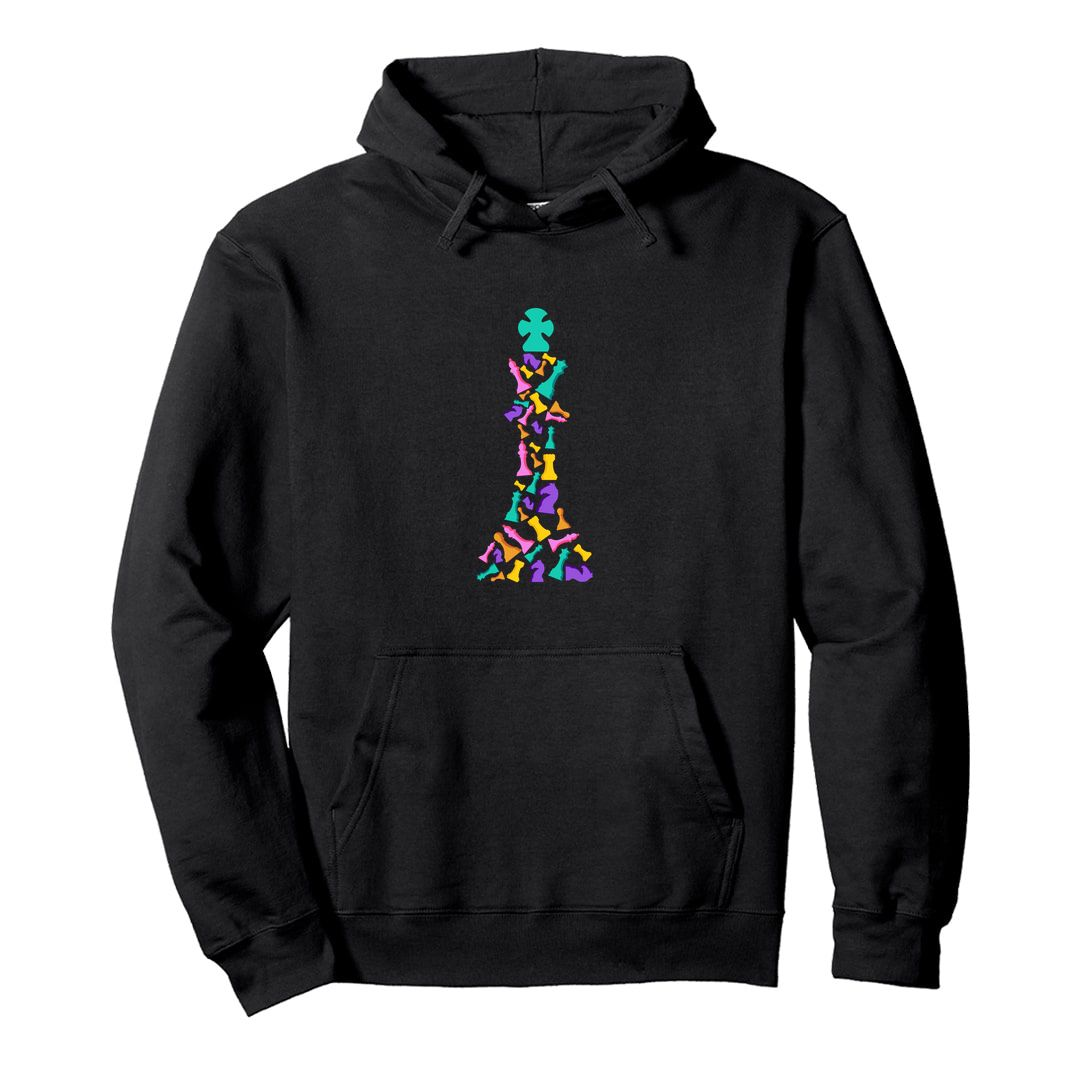 D7042120 The Colourful King For Chess Players Unisex Hooded Sweatshirt Hoodie Black Front.jpg
