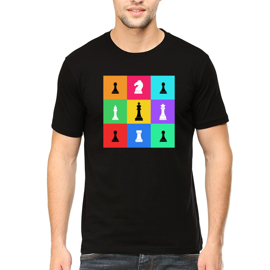 Defd2c27 Chess Pieces Colourful Grid Design For Chess Players Men T Shirt Black Front.jpg