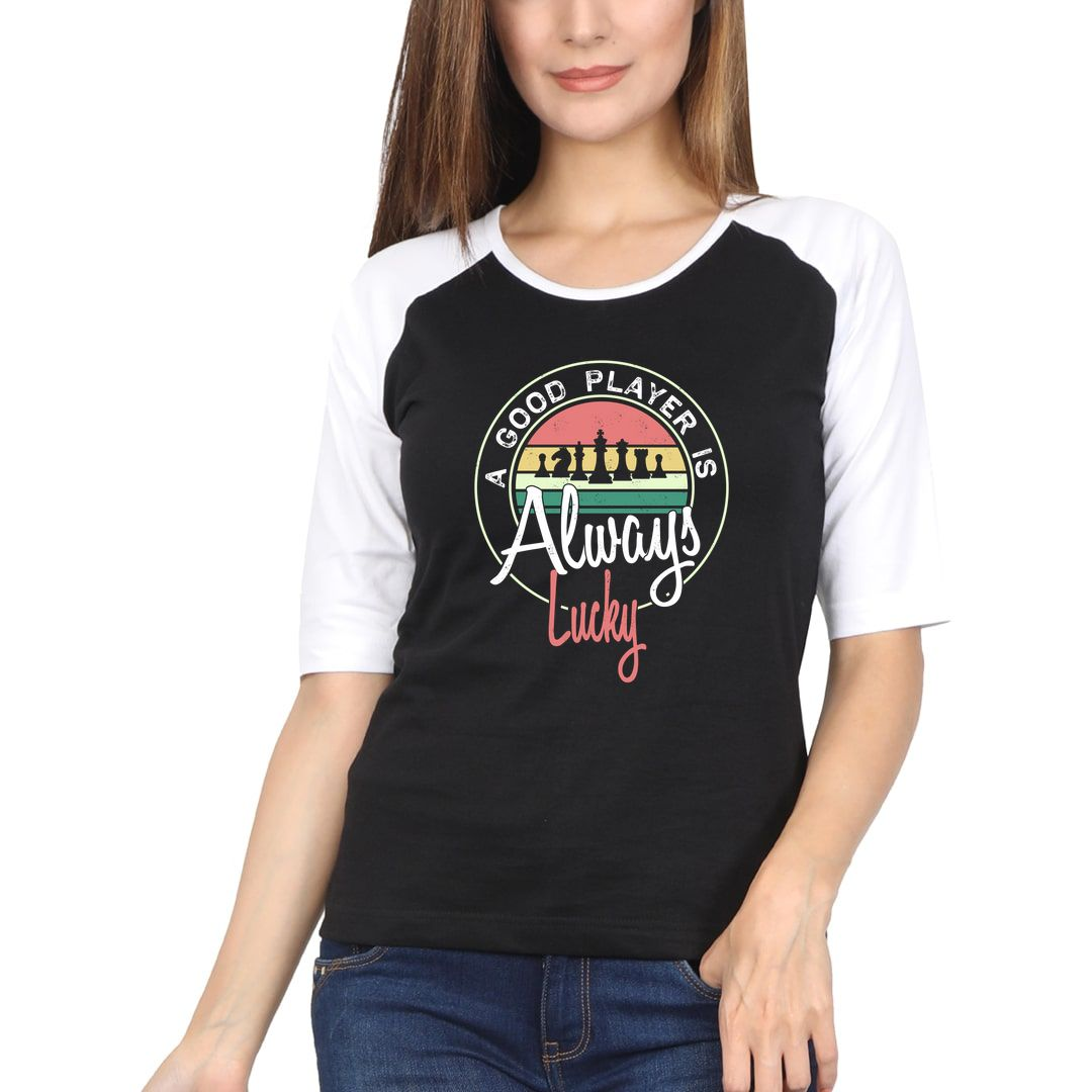 E71fff24 A Good Player Is Always Lucky Vintage Style Retro Slogan For Chess Players Women Raglan Elbow Sleeve T Shirt White Black Front.jpg