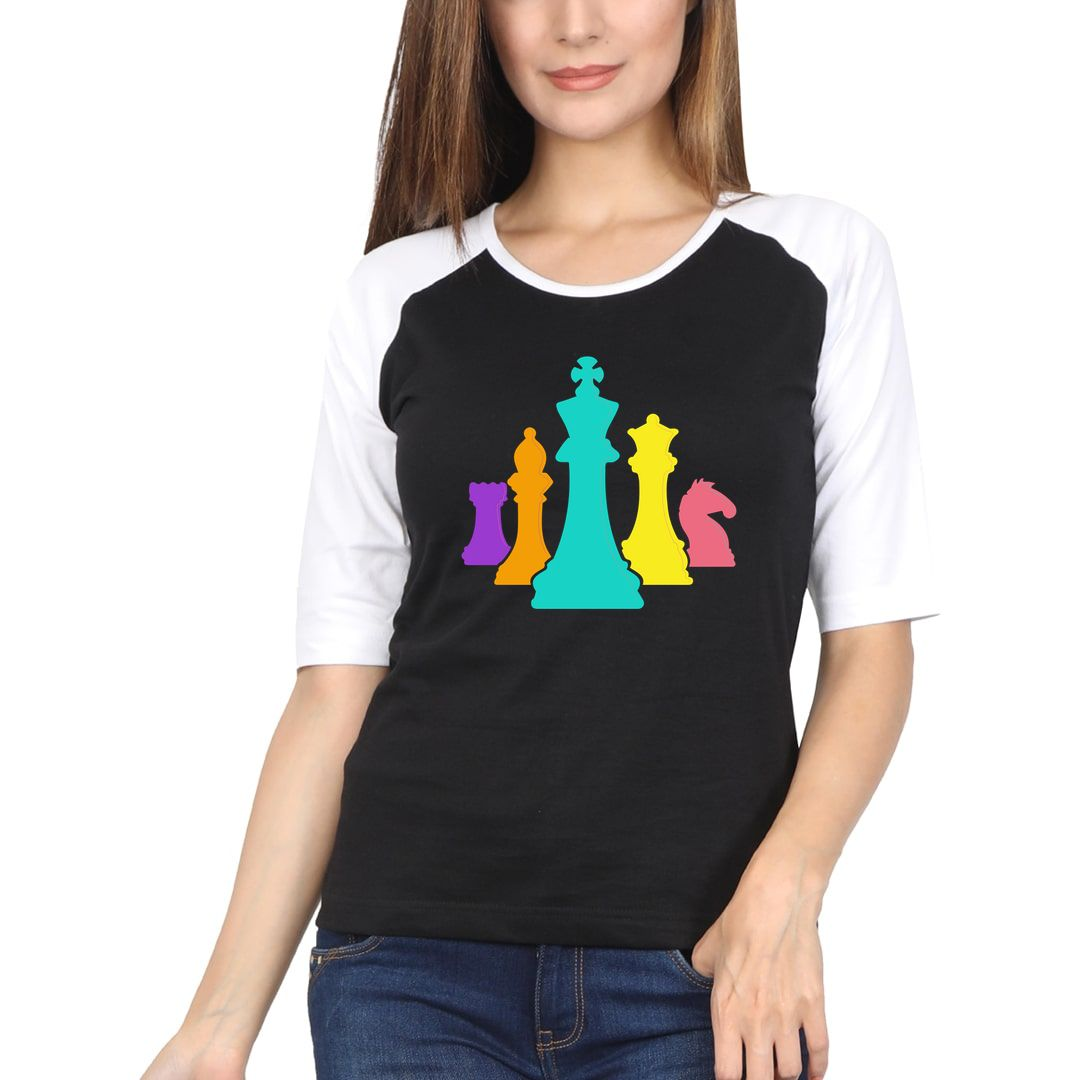Eda01514 Chess Pieces Colourful Design For Players And Enthusiasts Women Raglan Elbow Sleeve T Shirt White Black Front.jpg