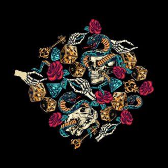 f3392f61 skulls and rosesblack