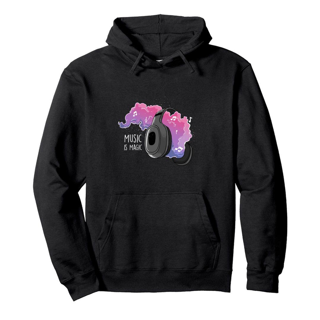 F4824ae4 Music Is Magic Vibrant Design For Music Gaana Isai Lovers Unisex Hooded Sweatshirt Hoodie Black Front.jpg
