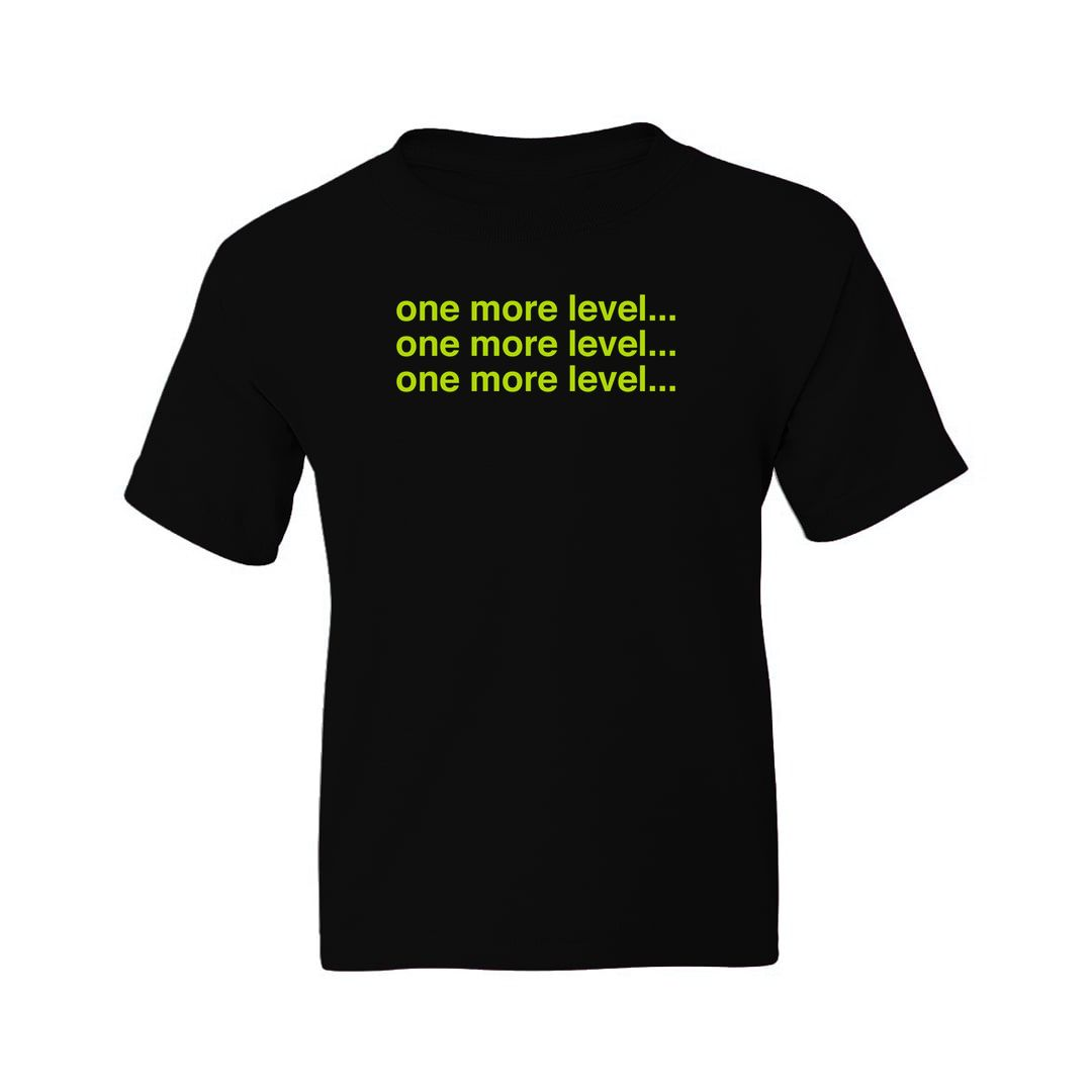 03db1035 One More Level Funny Gaming Kids T Shirt Black Front.jpg