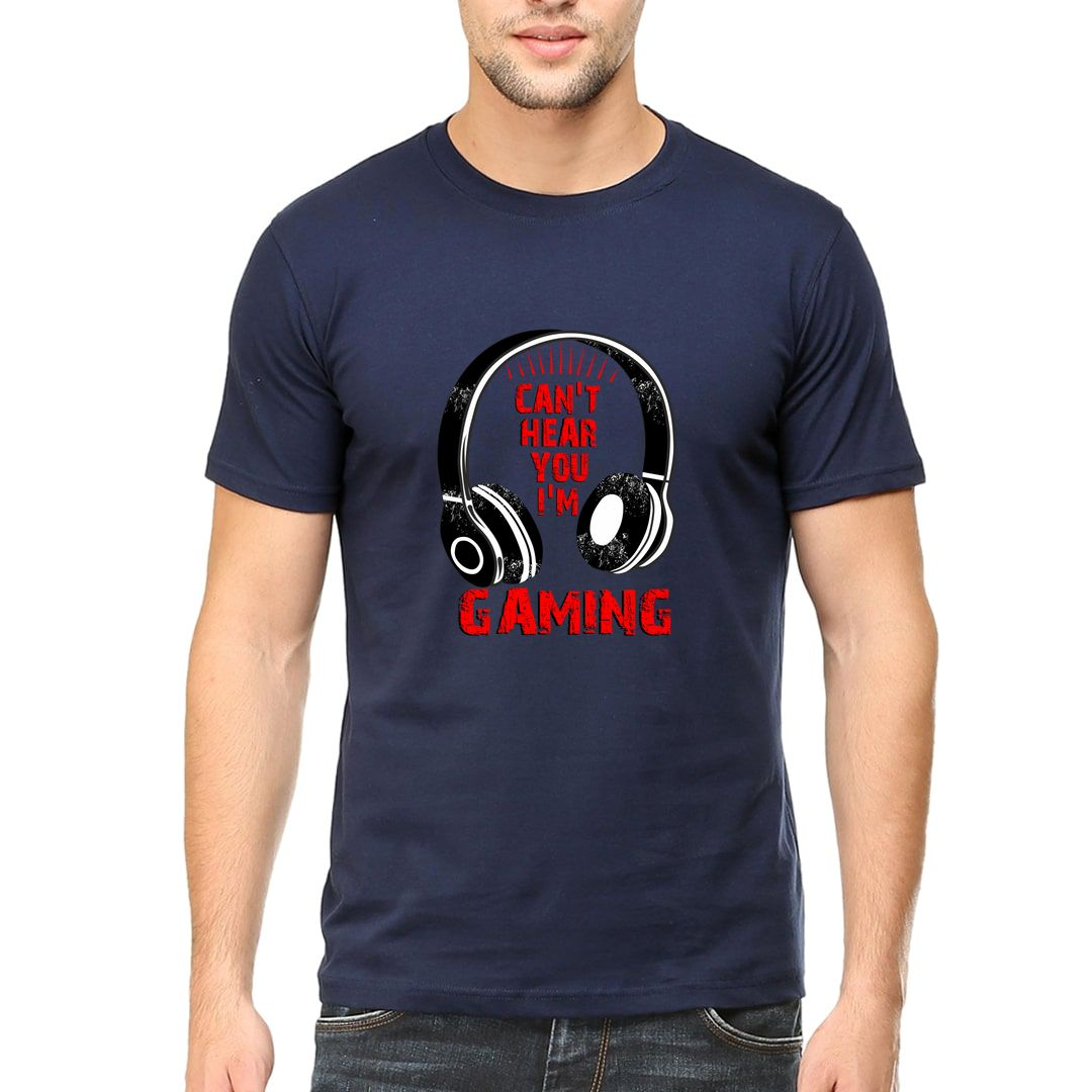 0c66fea1 Cant Hear You Im Gaming For Gamers Men T Shirt Navy Front.jpg