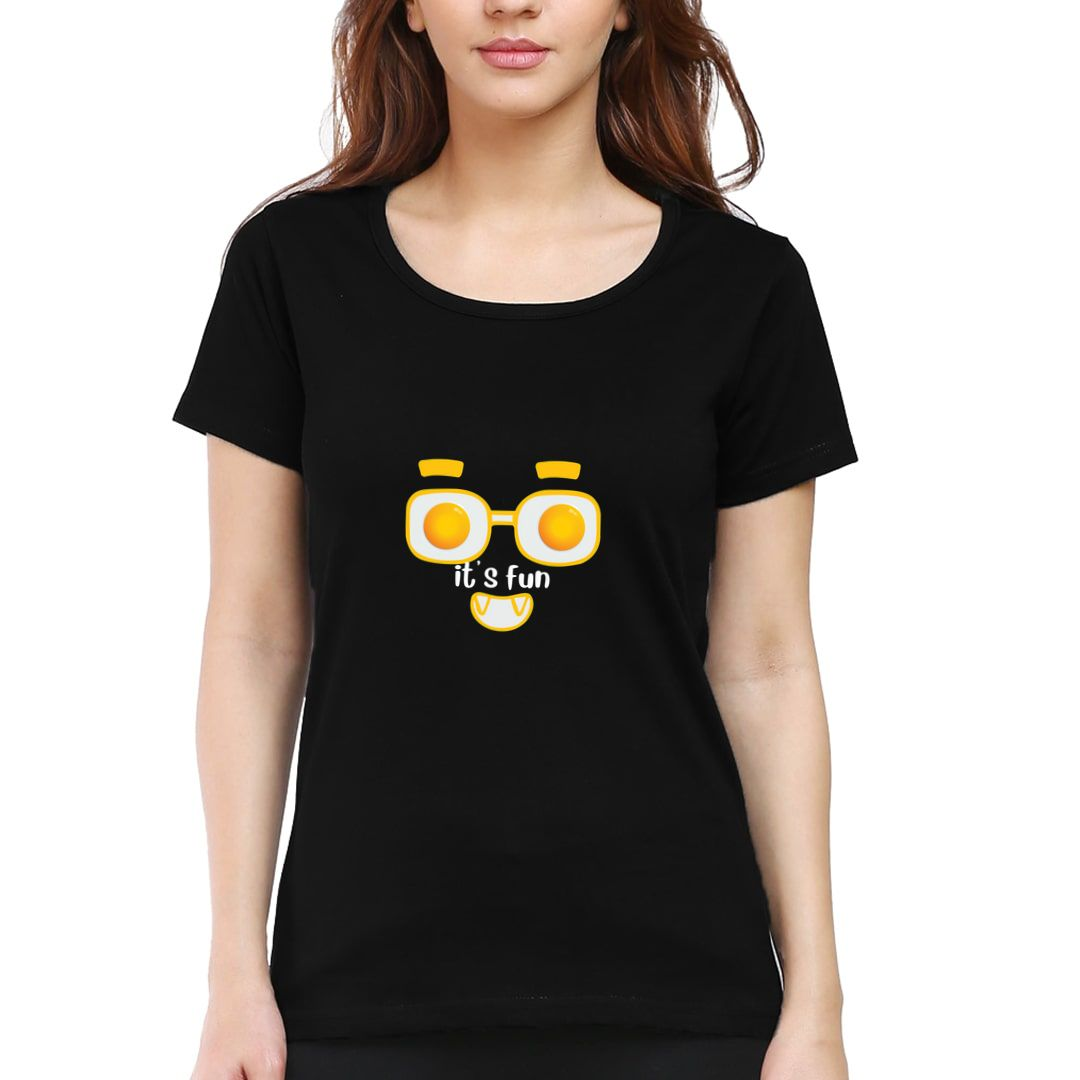 12ae0193 Its Fun For Foodies And Egg Half Boil Lovers Women T Shirt Black Front.jpg