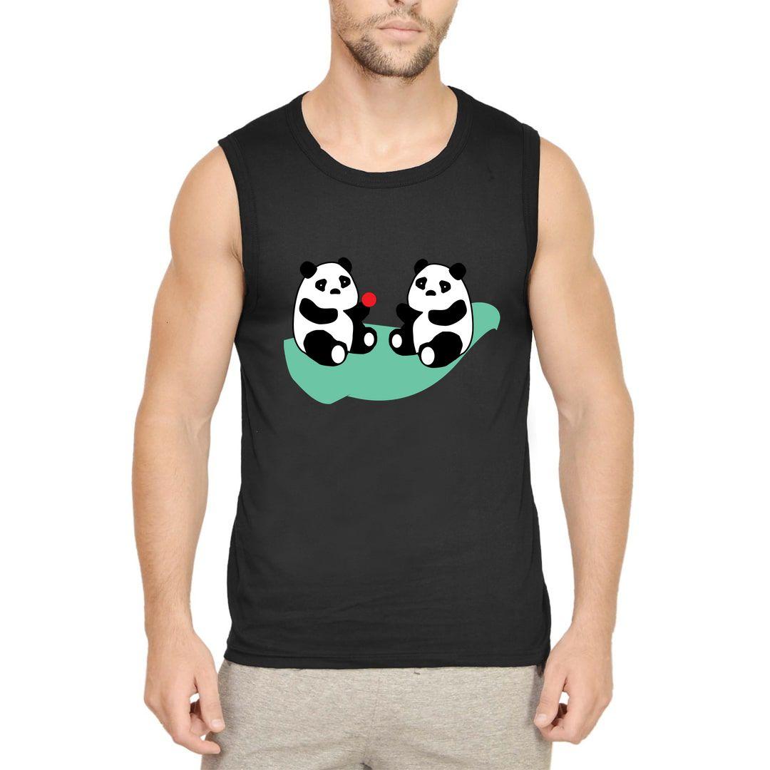 1c0dba7e Cute Baby Panda Cubs Playing Men Sleeveless T Shirt Vest Black Front.jpg