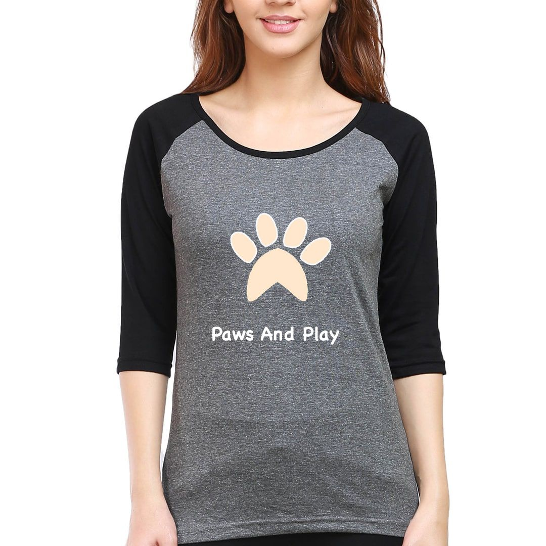 1e871e76 Paws And Play For Dog Pet Puppy Lover Women Raglan Elbow Sleeve T Shirt Black Charcoal Front.jpg