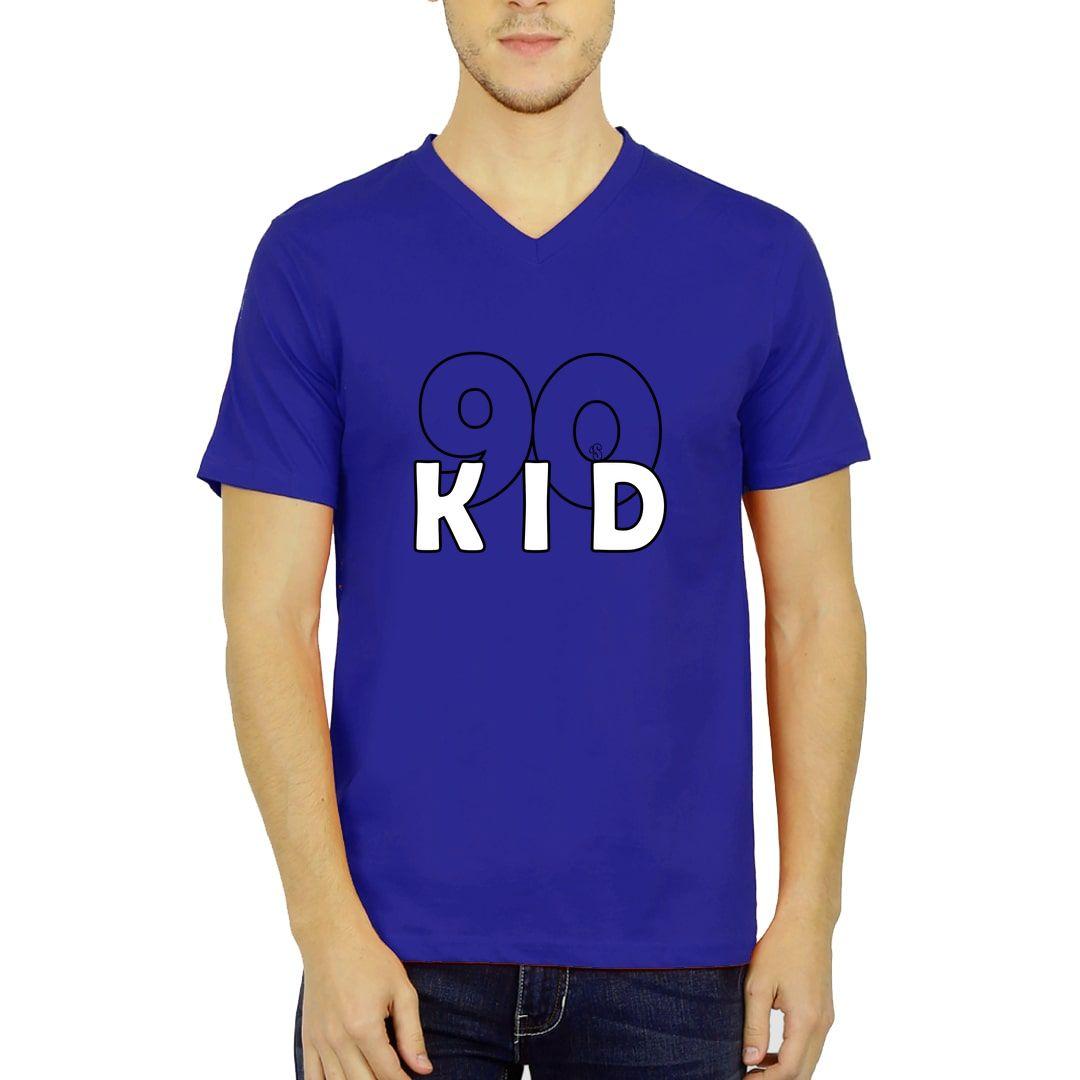 26bd2ed5 90s Kid Men V Neck T Shirt Royal Blue Front.jpg