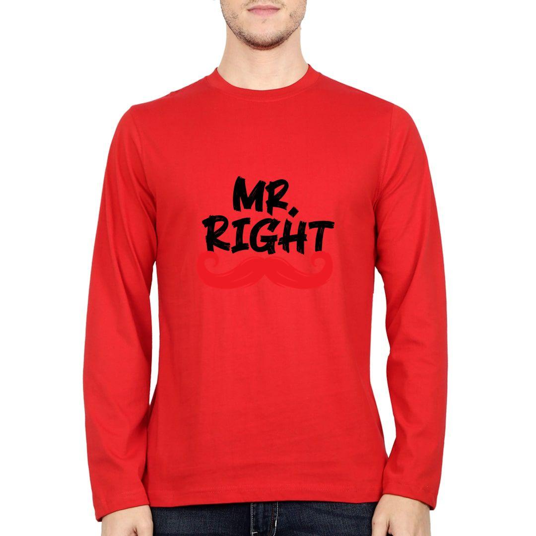 28dbb5a6 Mr Right Full Sleeve Men T Shirt Red Front.jpg