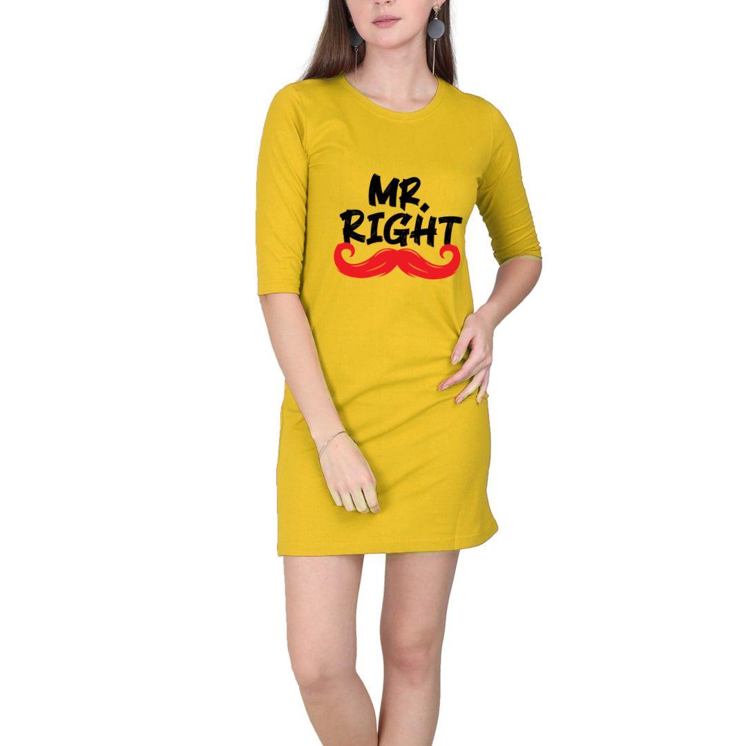 28dbb5a6 Mr Right Women T Shirt Dress Yellow Front.jpg