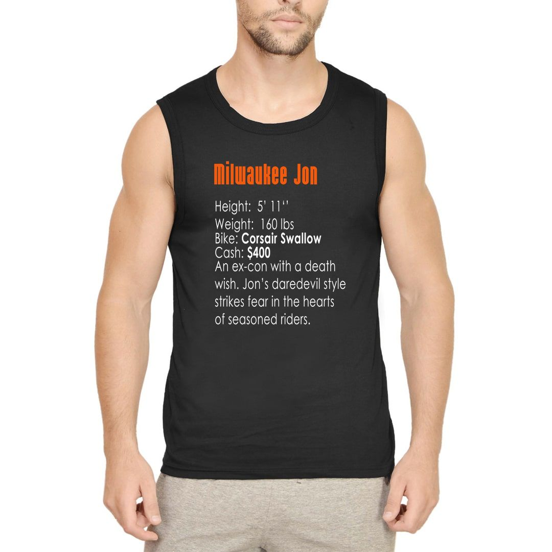 35f1db8d Milwaukee Jon 90s Bike Racing Gaming Nostalgia Men Sleeveless T Shirt Vest Black Front.jpg