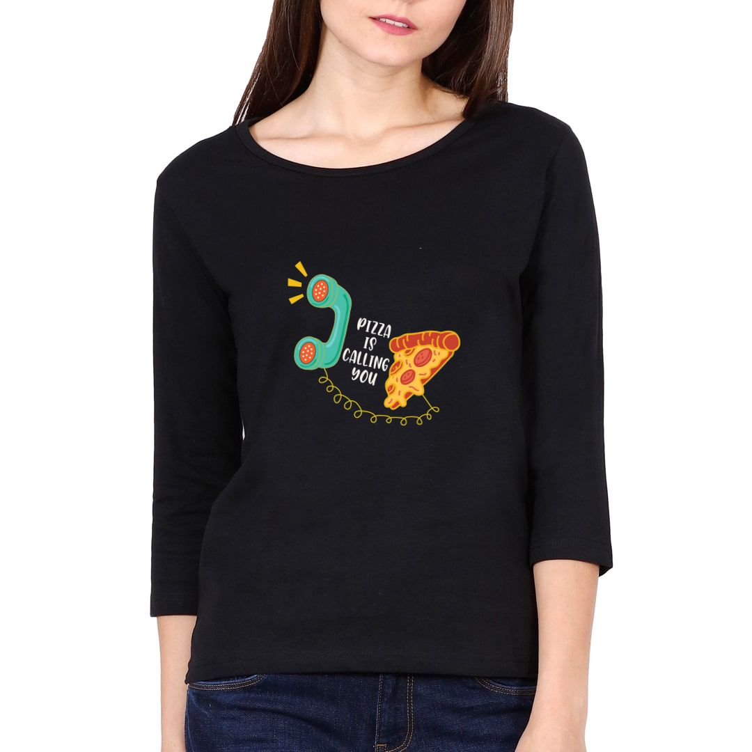 3b0d6c58 Pizza Is Calling You Elbow Sleeve Women T Shirt Black Front.jpg