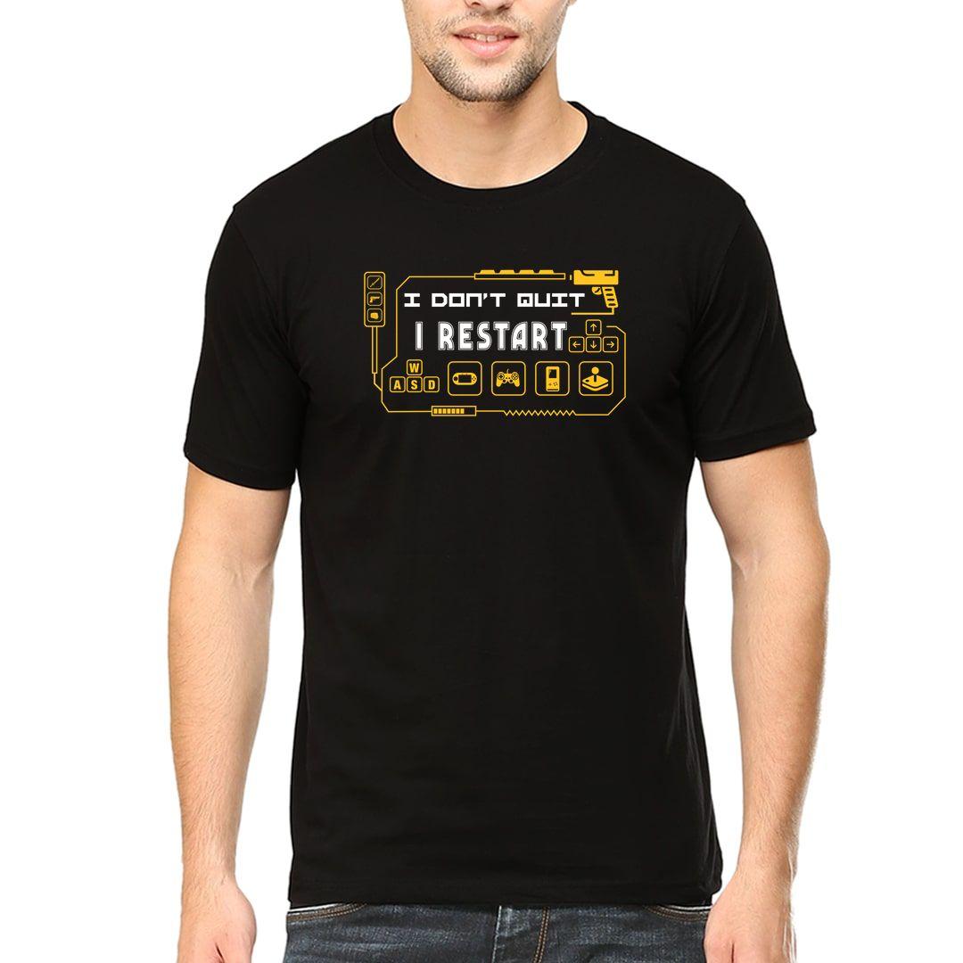 41e87970 I Dont Quit I Restart Funny Slogan For Gamers Men T Shirt Black Front.jpg