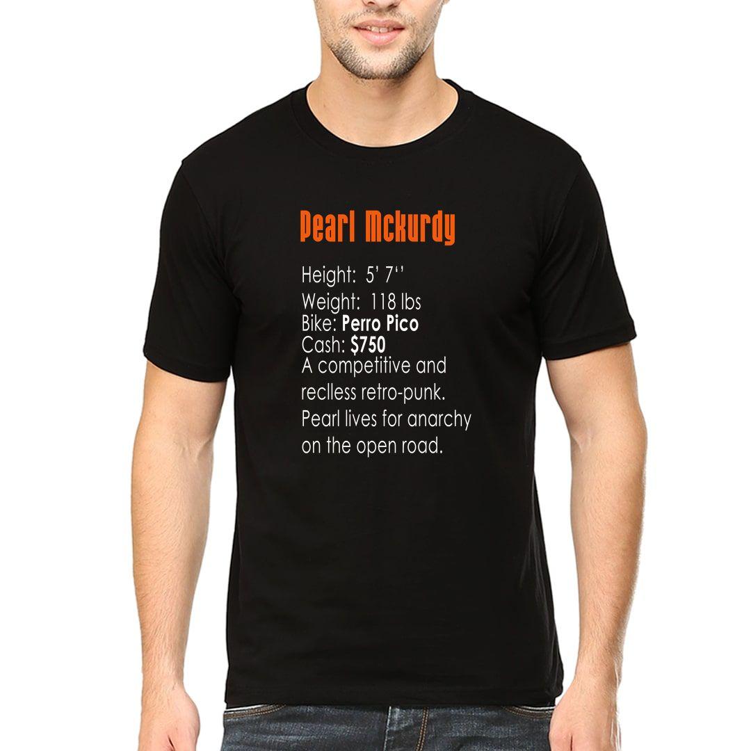 58a70383 Pearl Mckurdy 90s Bike Racing Gaming Nostalgia Men T Shirt Black Front.jpg