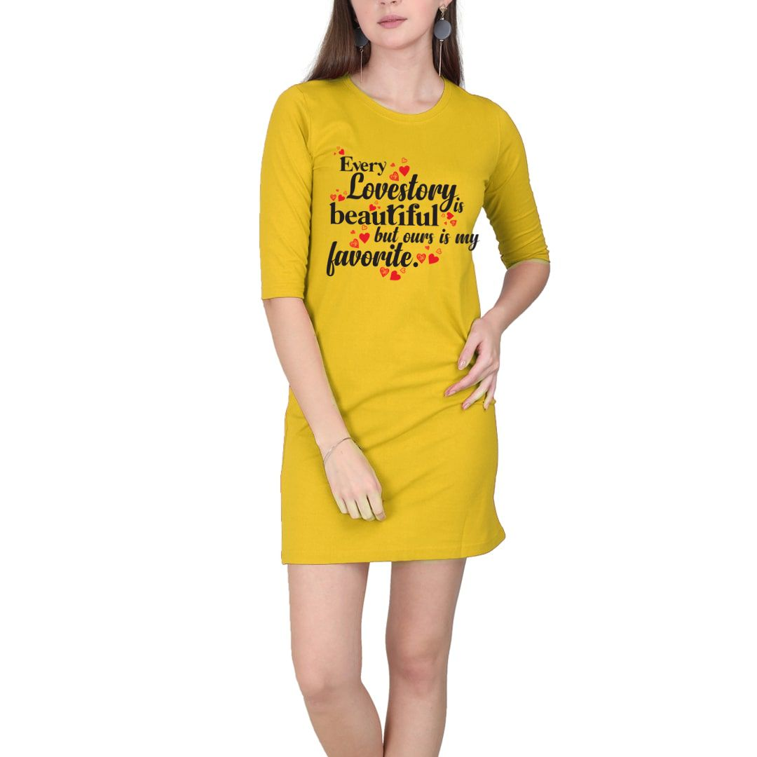 599dd8e9 Every Love Story Is Beautiful But Ours Is My Favorite Women T Shirt Dress Yellow Front.jpg
