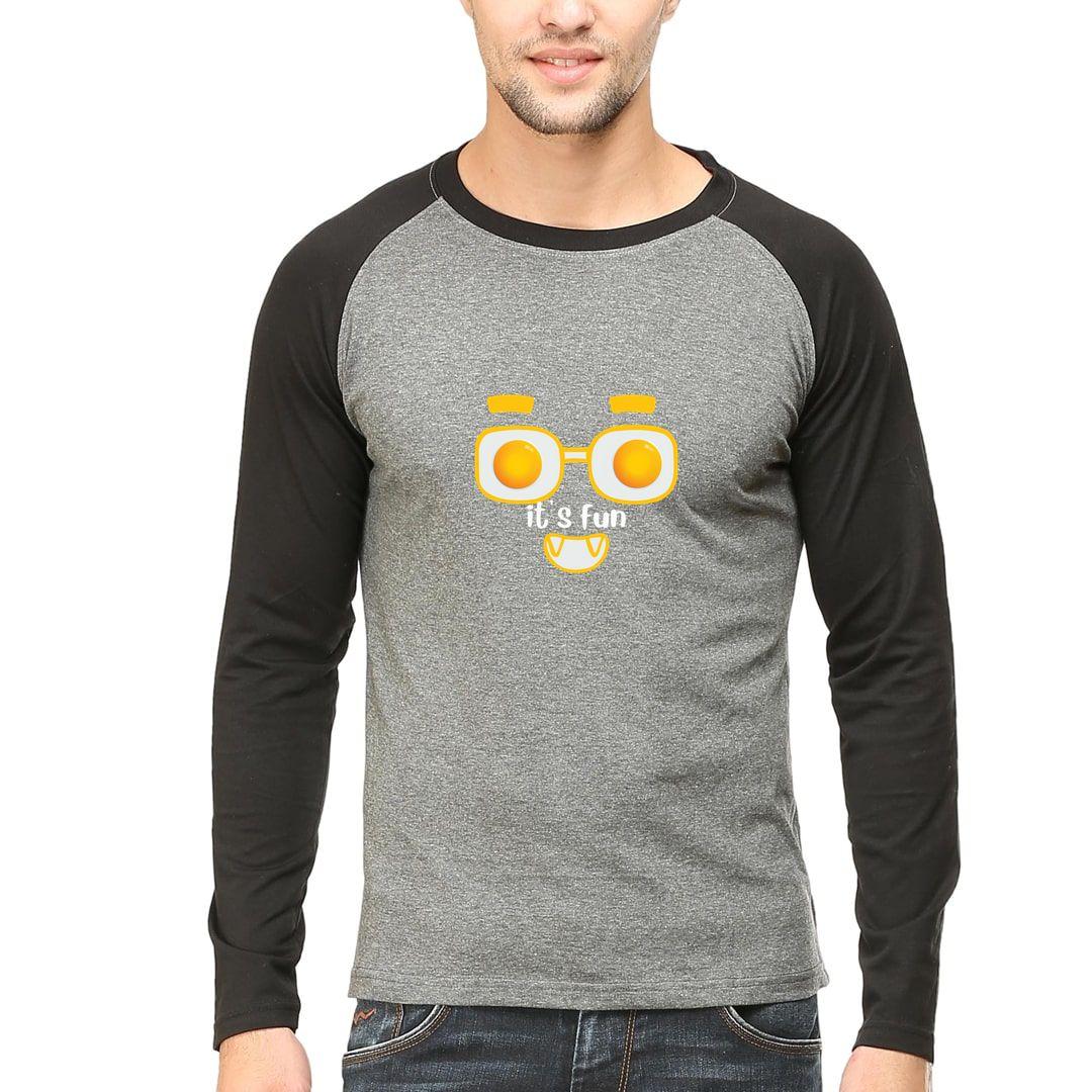63588d98 Its Fun For Foodies And Egg Half Boil Lovers Men Raglan Full Sleeve T Shirt Black Charcoal Front.jpg