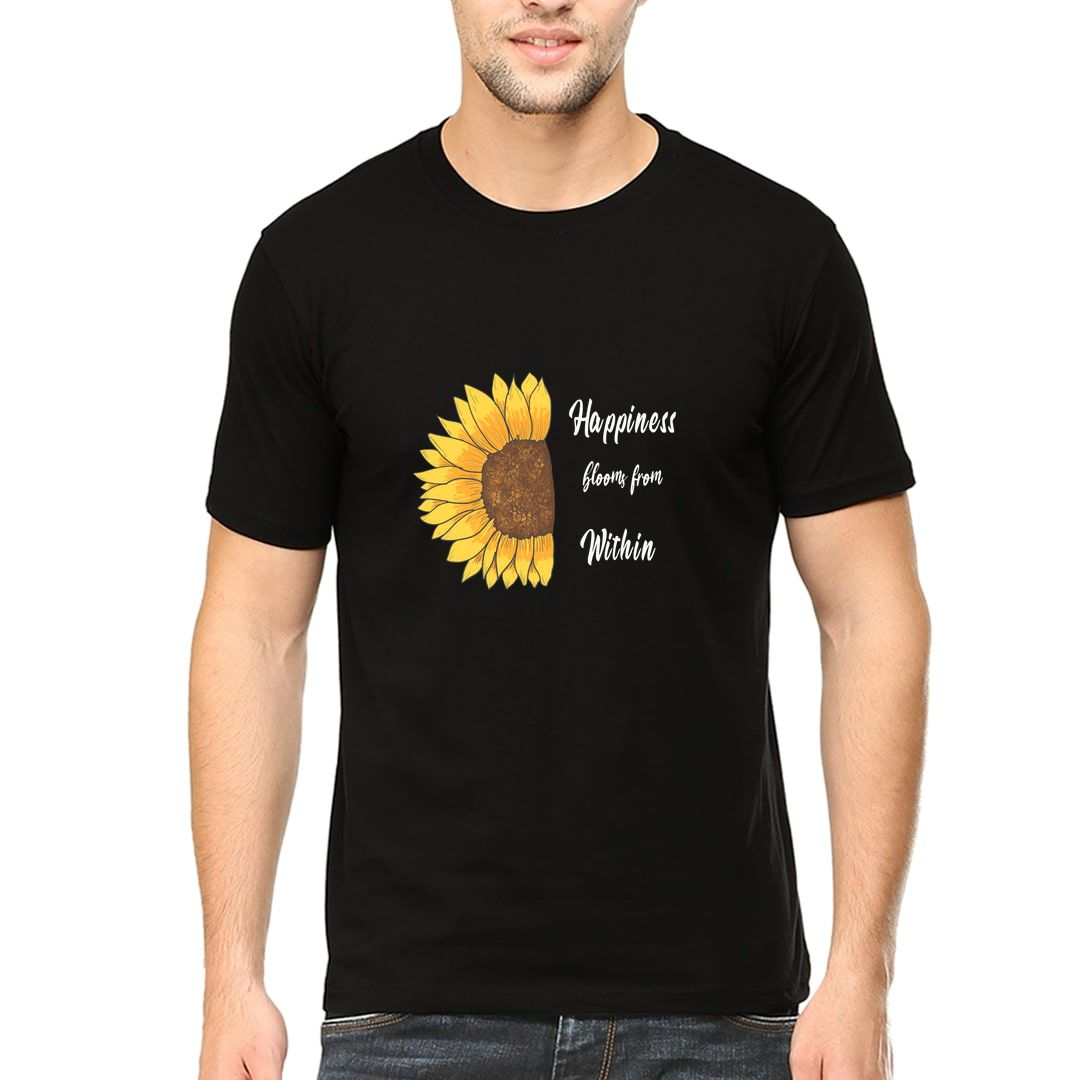 7c519c2d Happiness Blooms From Within Nature Inspired Happy Floral Design Men T Shirt Black Front.jpg