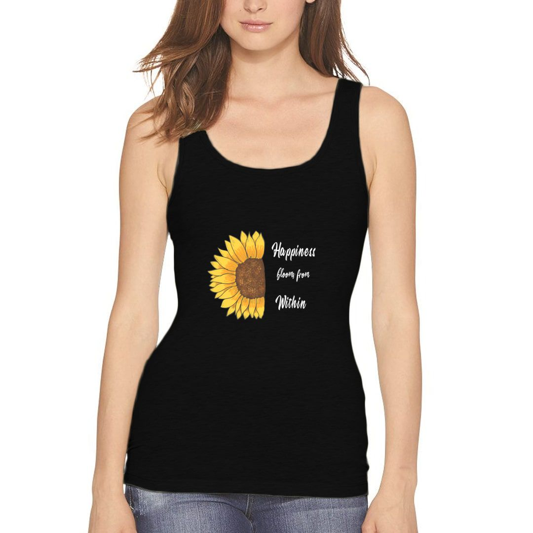 7c519c2d Happiness Blooms From Within Nature Inspired Happy Floral Design Women Tank Top Black Front.jpg